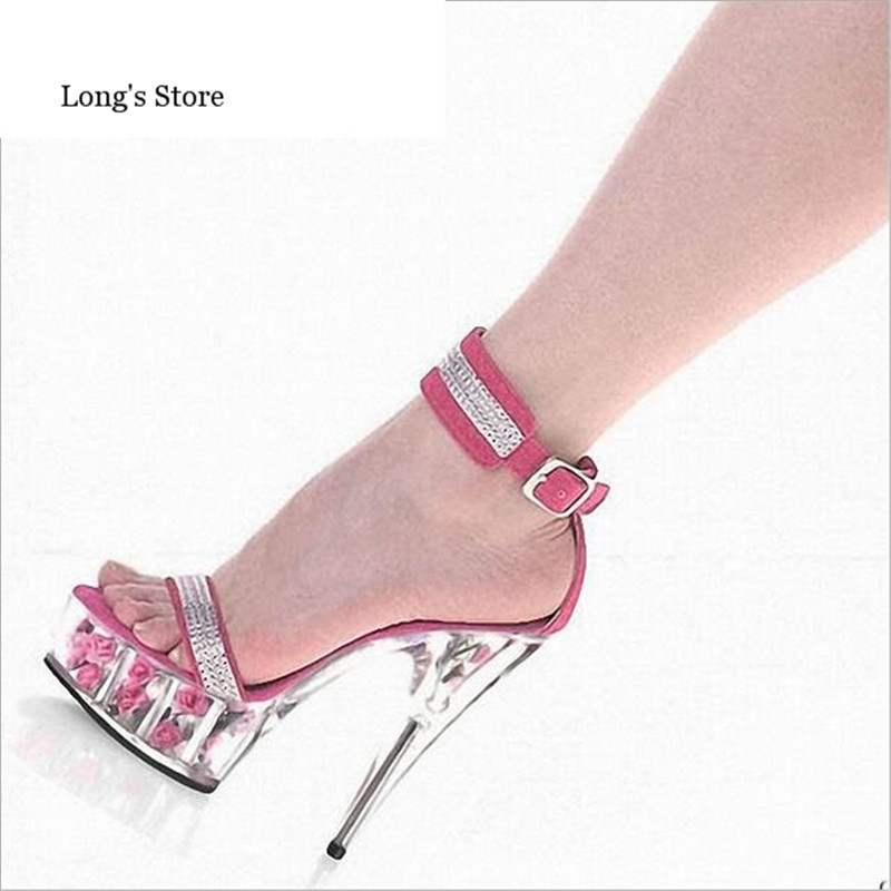 CDTS:35-45 46 SUMMER zapatos mujer Peep Toe Sequined sandals 15cm thin high heel crystal platform sexy woman shoes wedding pumps