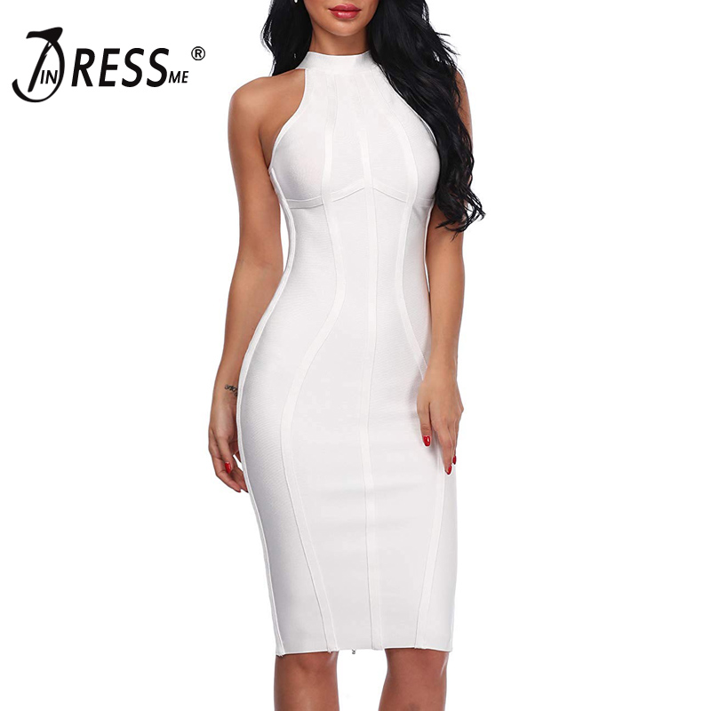 INDRESSME 2019 New Women Bandage Dress Runway Party Dresses Stand Neck Tank Sexy Sleeveless Lady Dress