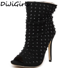 Панк-рок еж обувь Гладиатор Заклёпки Летние ботильоны женские с открытым носком высокие Сандалии высокое туфли-лодочки на каблуке Клубная одежда