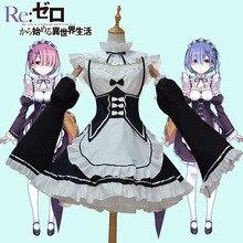 Nueva ram/rem cosplay re: cero isekai kara hajimeru seikatsu vida nueva en a otro mundo kawaii hermanas traje de sirvienta dress