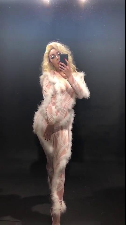 Couleur Performance Danseur Scène Fête Peluches Chanteur Blanches Sexy Costume Femmes Body Porter Combinaison Peau Vêtements Discothèque Y6qPzU5