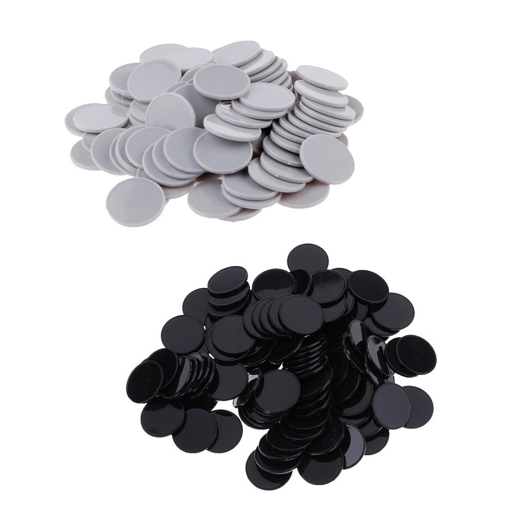 200x Plastic Casino Poker Chip Bingo Markers Token Board Game Toy Gray Black