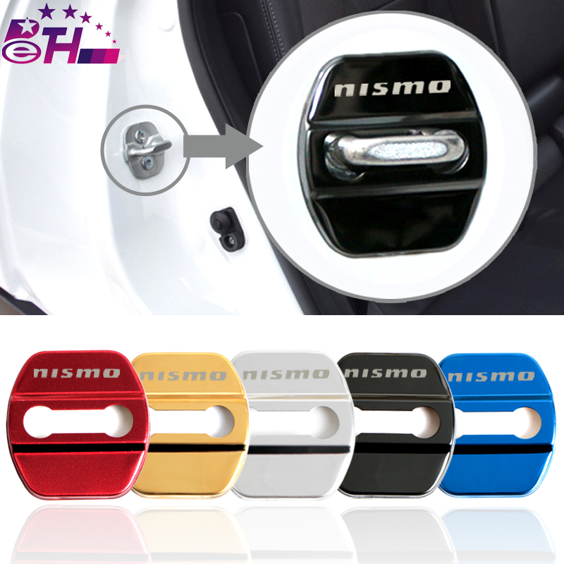 4pcs Car-Styling Door lock Cover Car Emblem Fit For Nissan Nismo Qashqai Skyline X-Trail Accessories Stainless Steel Car Styling ceyes car styling car emblems case for nissan nismo juke x trail qashqai tiida teana car styling auto cover accessories 4pcs lot