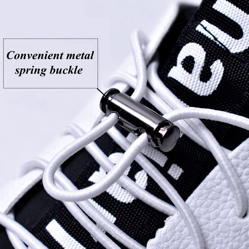 1Pair Elastic Shoelaces Round Metal Buckle No Tie Shoe laces Kids Adult Quick Lock Shoe lace Leisure Sneakers Lazy laces in Shoelaces from Shoes