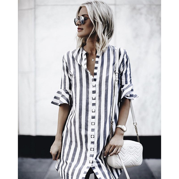 Half Sleeve O-Neck Button Loose Cotton Shirt Dress