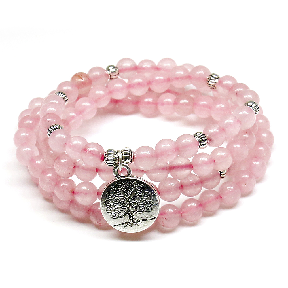 Pink Beads Buddhist Buddha Meditation 6mm 108 Beads Natural Stone Prayer Bead Bracelet Women Jewelry Women Stretch Yoga Jewelry все цены