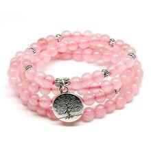 Pink Beads Buddhist Buddha Meditation 6mm 108 Beads Natural Stone Prayer Bead Bracelet Women Jewelry Women Stretch Yoga Jewelry