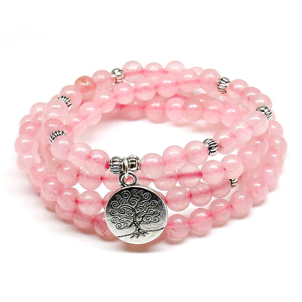 Rosa Perlen Buddhistischen Buddha Meditation 6mm 108 Perlen Naturstein Gebetskette Armband Frauen Schmuck Frauen Stretch Yoga Schmuck