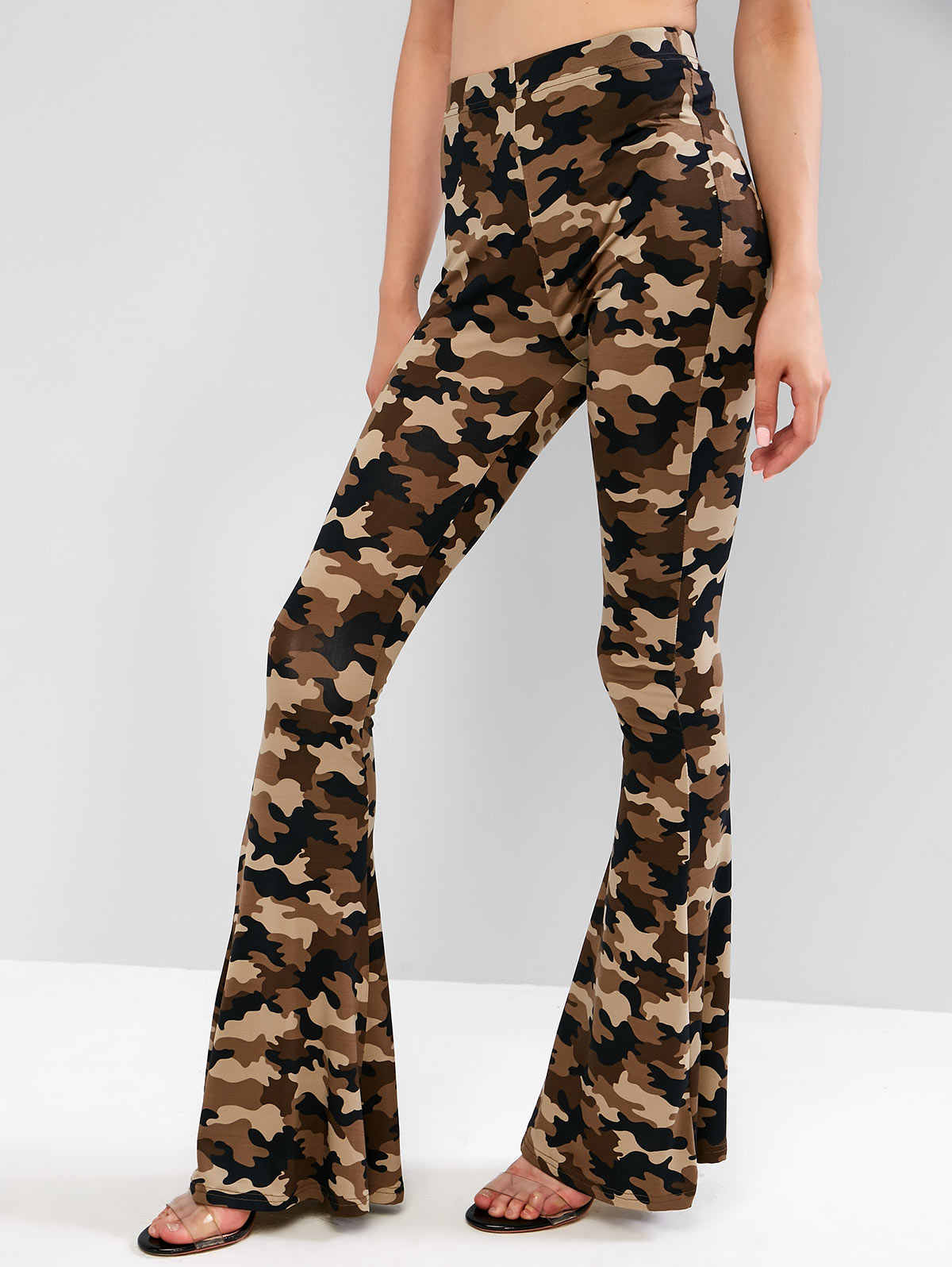 Zaful Pantalones Femeninos De Moda Camo Pantalones De Cintura Alta Para Mujer Pantalones De Campana Inferior Para Mujer Pantalones Y Pantalones Capri Aliexpress