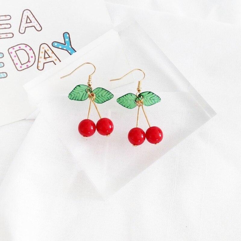 hot red Cherry earrings eardrop Sweet fruit fresh cherry eardrop female fashion youth beautiful girl students earrings for women 4