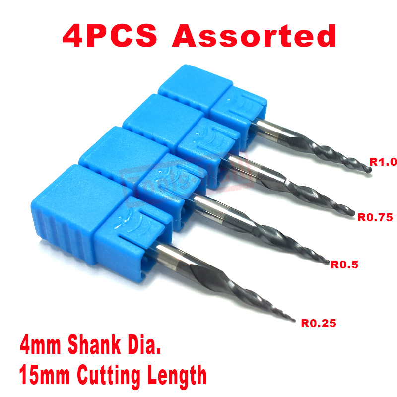 4PCS Assorted R0.25&0.5&0.75&1.0mm HRC55 Tungsten solid carbide Tapered Ball Nose End Mills and cone cutter dia 1 4 and tip radius 1 5mm solid carbide tapered ball nose end mills and taper milling cutter hrc55 with tialn coating