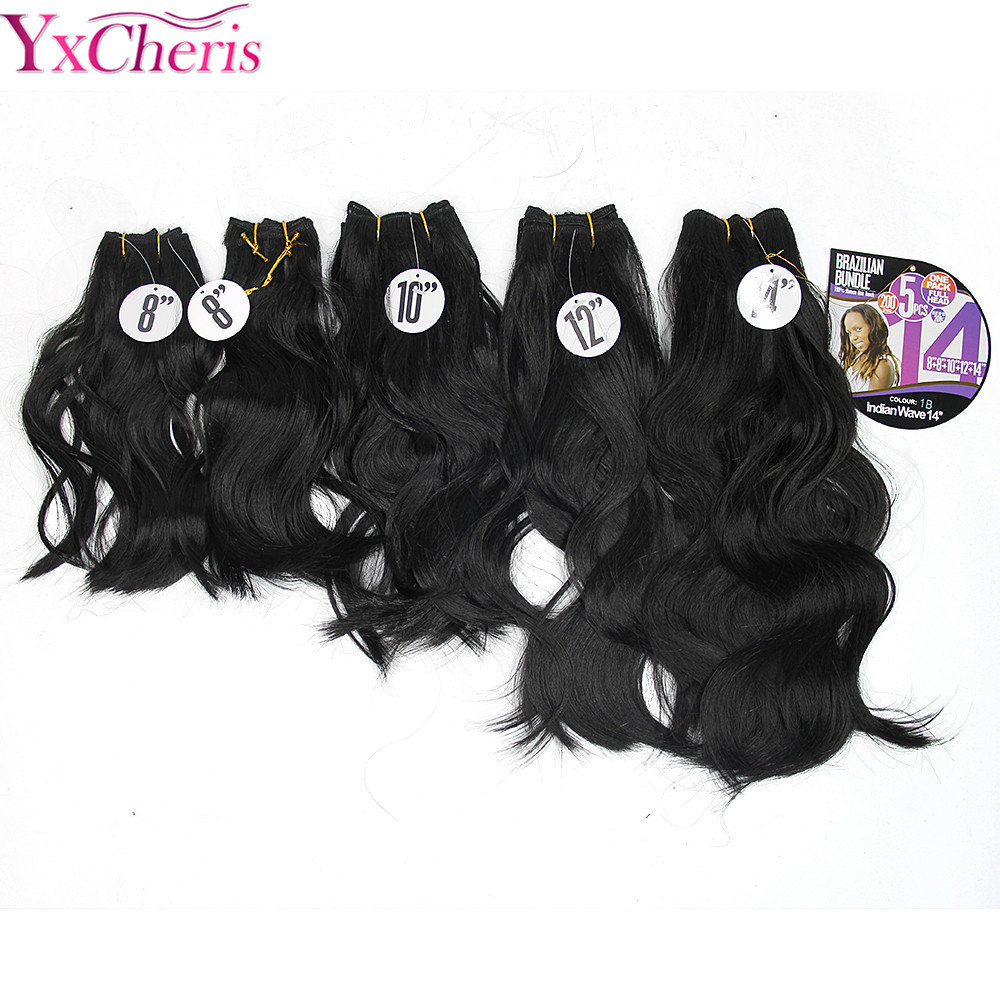 Natural Wave Hair Synthetic Weave Hair Bundles 8-14inches Brazilian Bundles Indian Wave 200g 5pcs Afrian Splendor