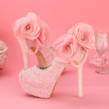 2016 Graceful Pink Lace Bridesmaid Shoes Birthday Party Prom Pumps Wedding Shoes Customized Platform Party Bridal Dress Shoes