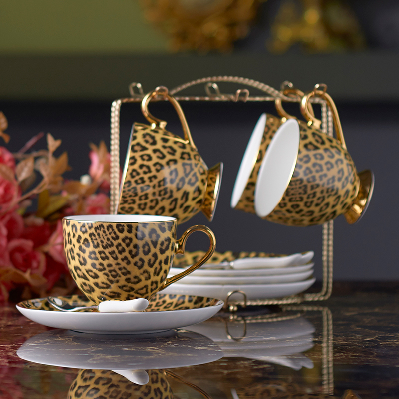 Luxury leopard mug set 3