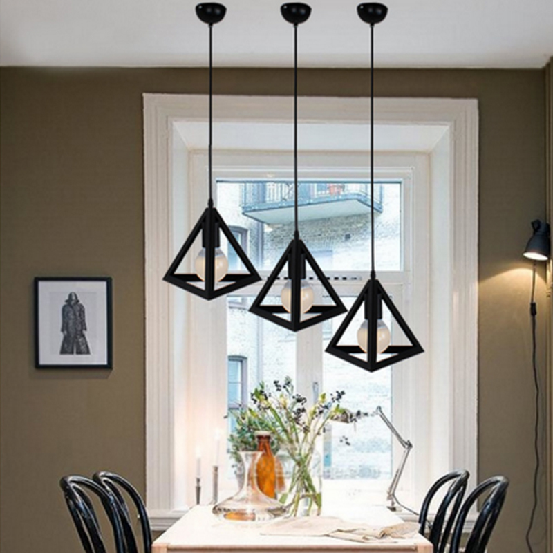 Personality iron Pendant light Coffee shop Restaurant black Pendant lamp clothing store Library triangle Modern led light riggs r library of souls