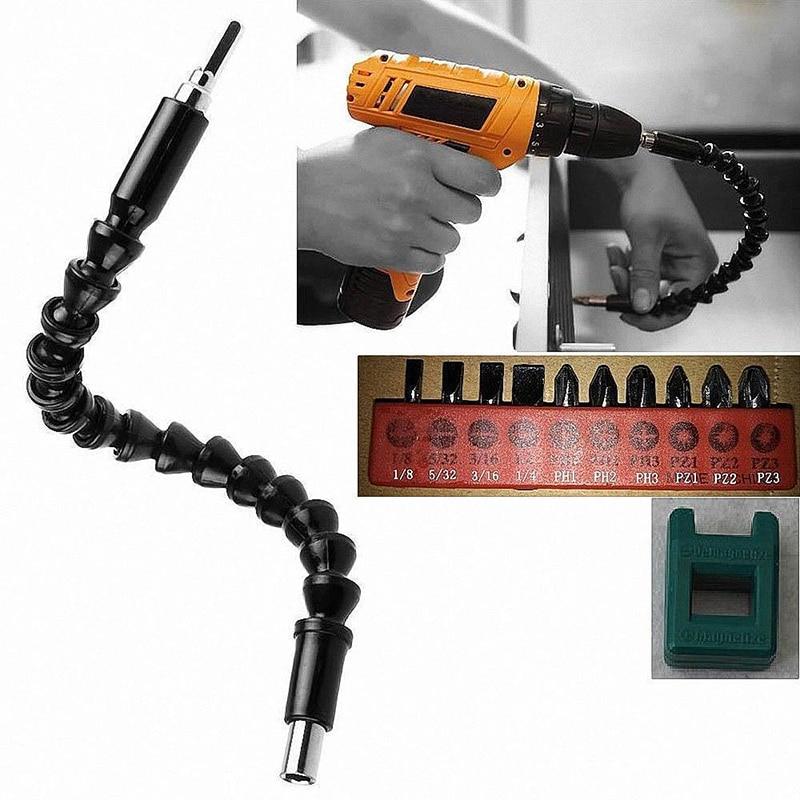 1Pc 30 CM/11.8 Inch Flexible Drill Shaft Socket Key Drive Bits Extension Extender Link Snake Double Head Screwdriver #251877