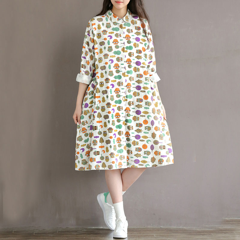 Mori girl Japanese harajuku retro shirt collar large size pocket cotton and linen owl printing loose midi dresses vestidos girl