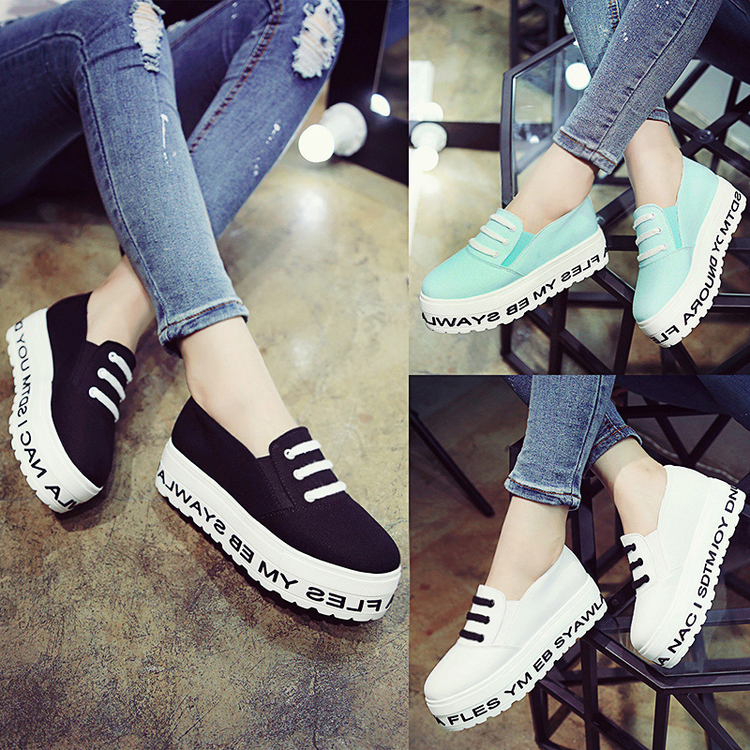 2016 white heavy-bottomed shoes lazy students a pedal canvas doug shoes women solid Loafers shoes 5
