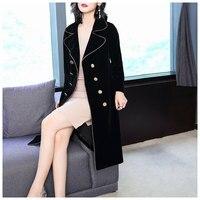Women Long Coat Autumn Winter 2018 New Plus Size Velvet Long Black Double Breasted Sashes Long Coat Blazer With Belt
