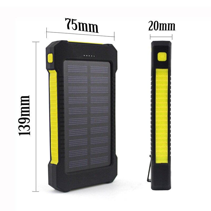 Цена за Новый Портативный Водонепроницаемый Солнечный Мощность Bank 10000 мАч Dual-USB солнечной Батарея Зарядное устройство для всех телефонов
