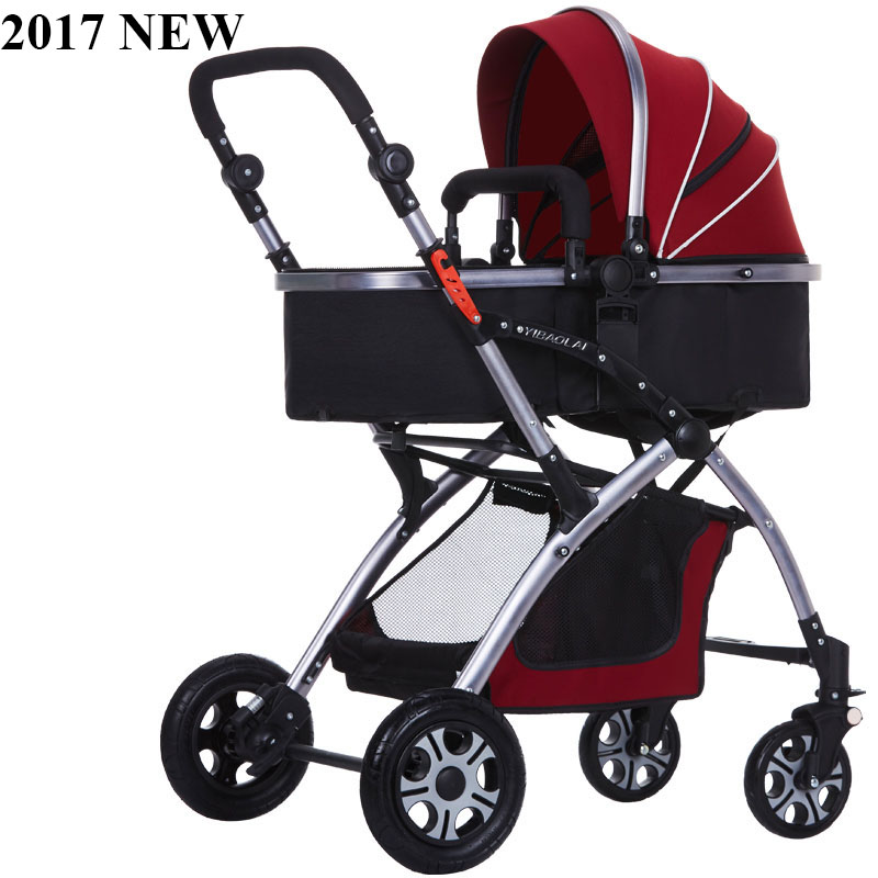 2017 new baby stroller high landscape can sit and lie the baby stroller and cart portable baby car suspension