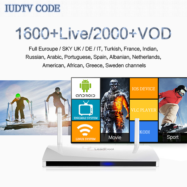 US $29 0 |Leadcool Updated IUDTV IPTV CODE 1600 European Channels Android  Mini PC 1 Year Subscription mag 250 iptv france-in Smart Remote Control  from