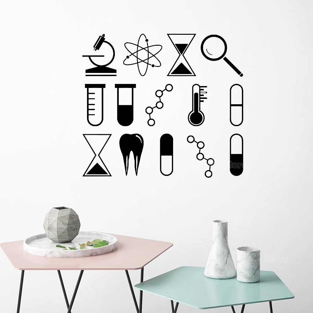 US $6.95 25% OFF Microscope Magnifying Glass Teeth Atom Vinyl Wall Stickers  Home Decor Living Room Teen Bedroom Chemistry Science DIY Decals S516-in ...