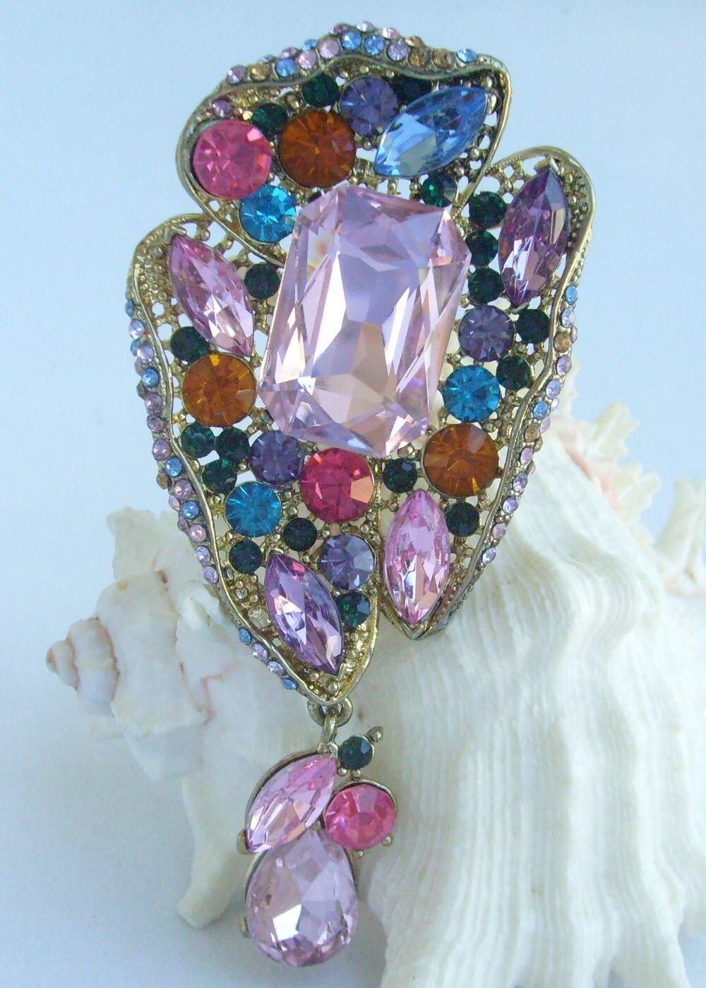 """4,1"""" Довольно слеза брошка заколка медальон многоцветные Стразы и кристаллы EE04990C5"""