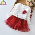 Christmas baby девушки одеваются зима с длинным рукавом кружева цветок Принцесса девушка новорожденный одежда свадебные платья крещение платье