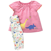 3M-4T kisgyermek csecsemő nyári ruhák gyerekek dinoszaurusz mintás pamut felső + nadrág 2db gyerekruházat készlet Lányok ruhák
