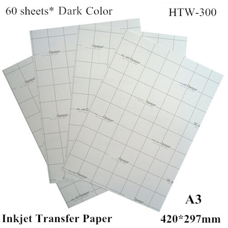 (a3*60pcs) Dark Iron On Inkjet Heat Transfer Paper A3 For T Shirts Thermal Transfer Papel For Dark And Light Fabric Htw-300 Free