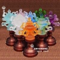 До 23 cmled восемь благоприятный лампы стекло Будда буддист поставляет для ламп Длинные Свет