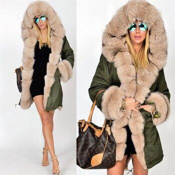 Y08 зимняя куртка пальто 2018 новые модные женские туфли с капюшоном пальто из искусственного меха хлопок флис женский парки толстовки длинное...