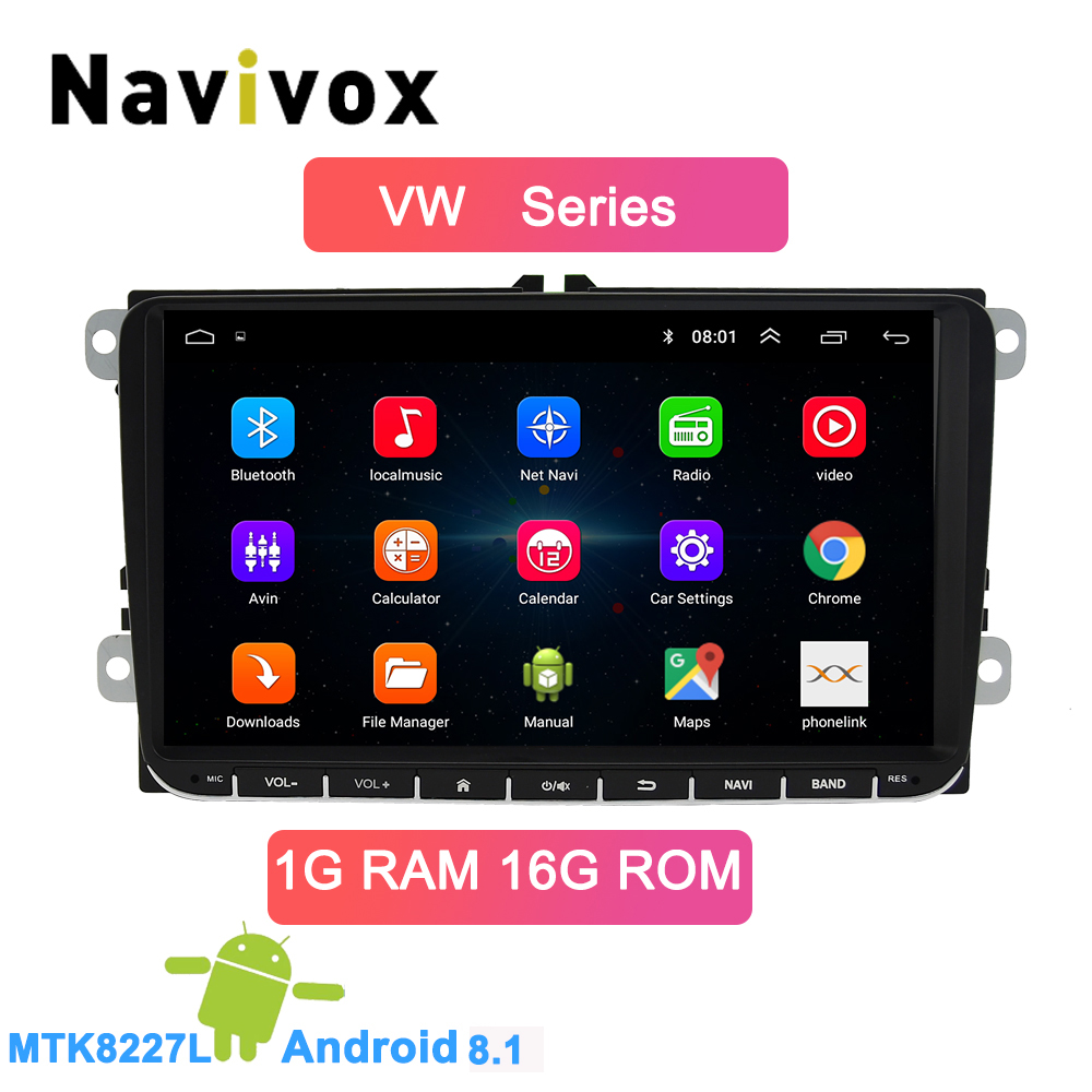 Navivox Android 8.1 voiture DVD GPS Navigation pour Skoda POLO GOLF 5 6 PASSAT B5 B6 TIGUAN TOURAN Caddy Seat Rapid