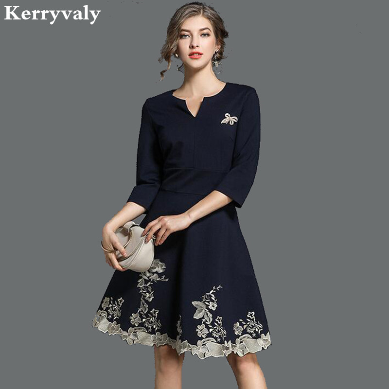 spring navy blue embroidery dress vetement femme 2018 vestido casual office woman dress dames. Black Bedroom Furniture Sets. Home Design Ideas