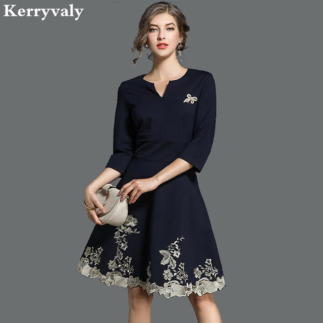 5817982c9645f US $30.32 18% OFF|Spring Navy Blue Embroidery Dress Vetement Femme 2019  Vestido Casual Office Woman Dress Dames Jurken Tunique Femme K5256-in  Dresses ...