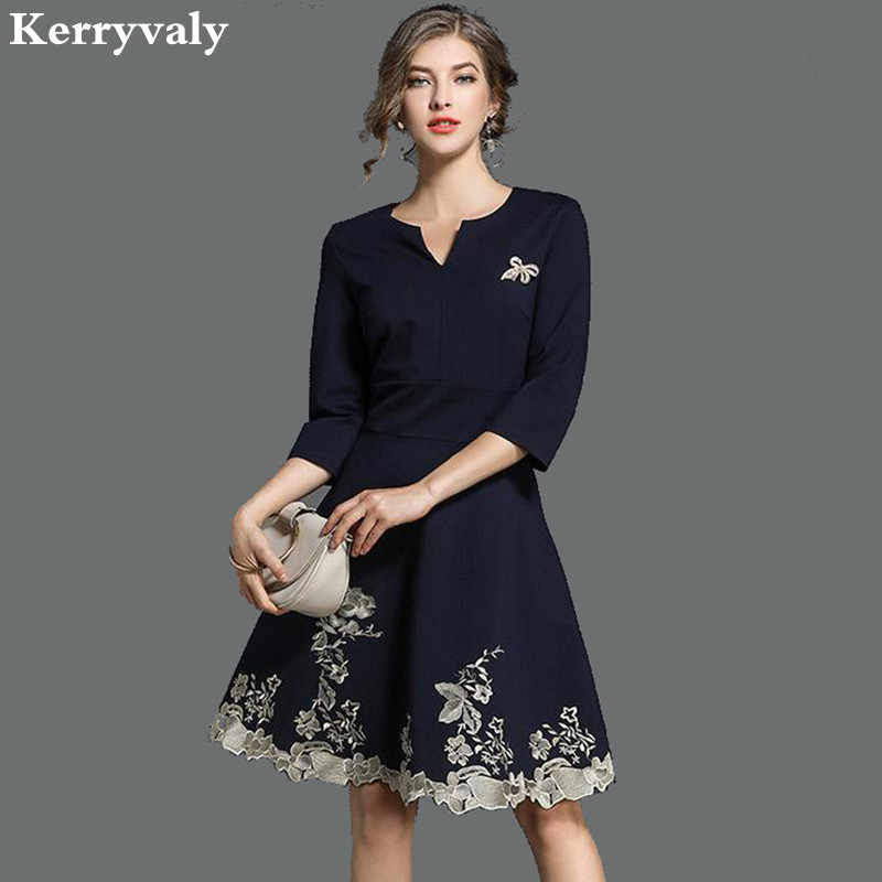 Dames Jurken 2019.Detail Feedback Questions About Spring Navy Blue Embroidery Dress