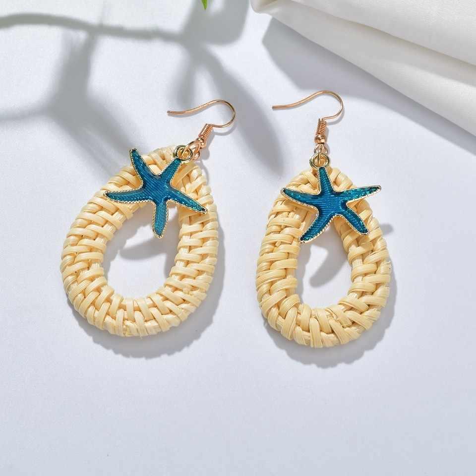 Shell Cowrie Drop ต่างหูสำหรับผู้หญิงต่างหูฤดูร้อน Beach เครื่องประดับเกาหลี Handmade Geometric Vine Weave ต่างหูยาว