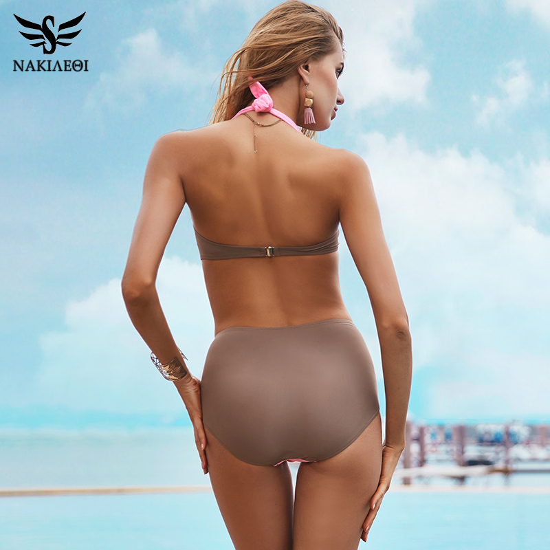 NAKIAEOI 2019 New Sexy Bikinis Women Swimsuit High Waisted Bathing Suits Swim Halter Push Up Bikini Set Plus Size Swimwear 4XL 3