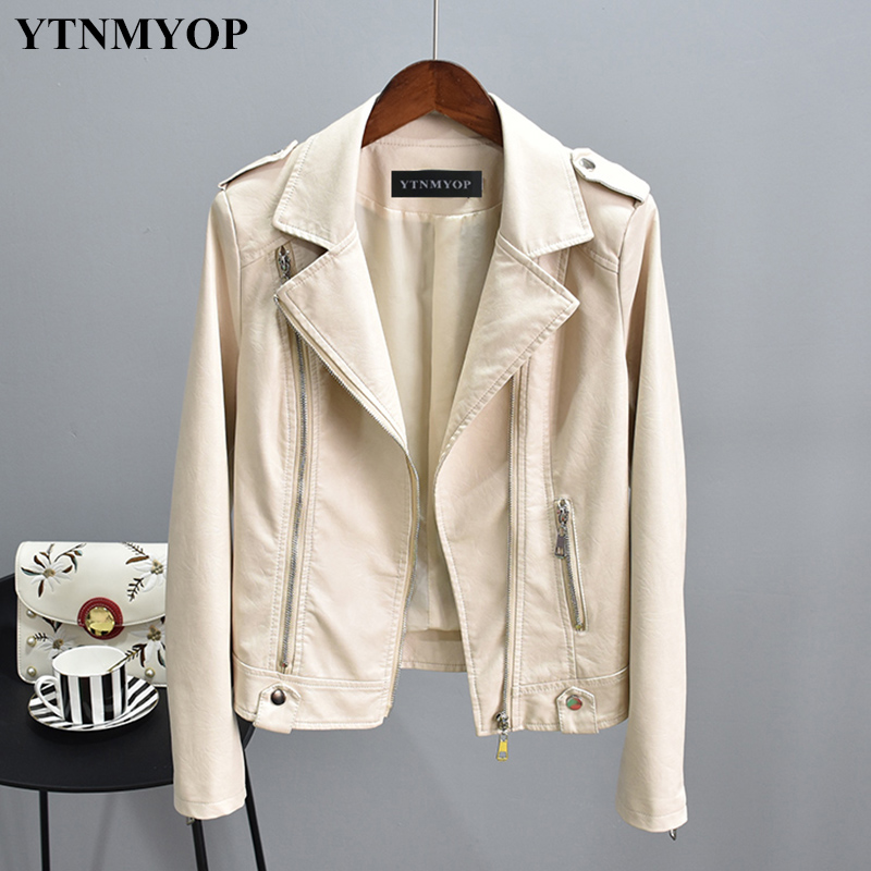 YTNMYOP 2018 New Slim Casual   Leather   Jacket Women Beige   Leather   Coat Outerwear Basic Jackets High Street Short Clothing