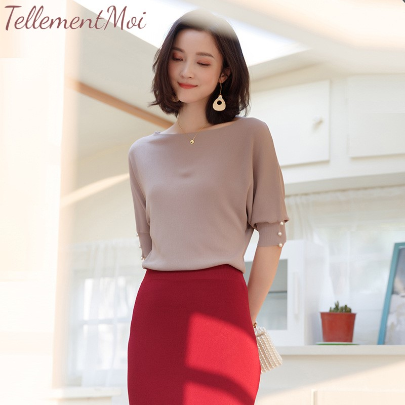 Women Knitted Tops Summer Thin Sweater Lady Half Sleeve Pullovers Shirt Female Elegant Basic Solid Shirts Tees 2019 Spring New