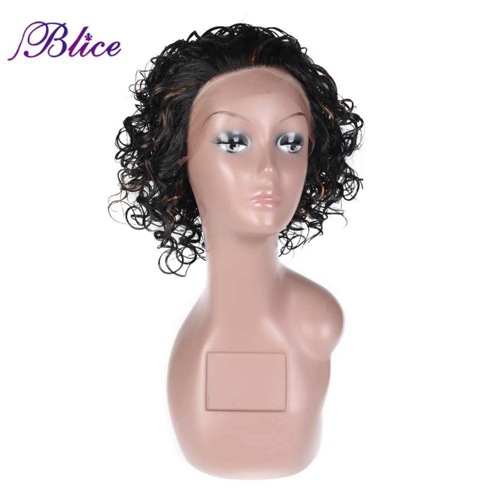 Blice Короткие вьющиеся волнистые синтетические волосы парик Омбре фортепиано цвет 1B/27 парик термостойкие волокна бесклеевая Кружева передние парики