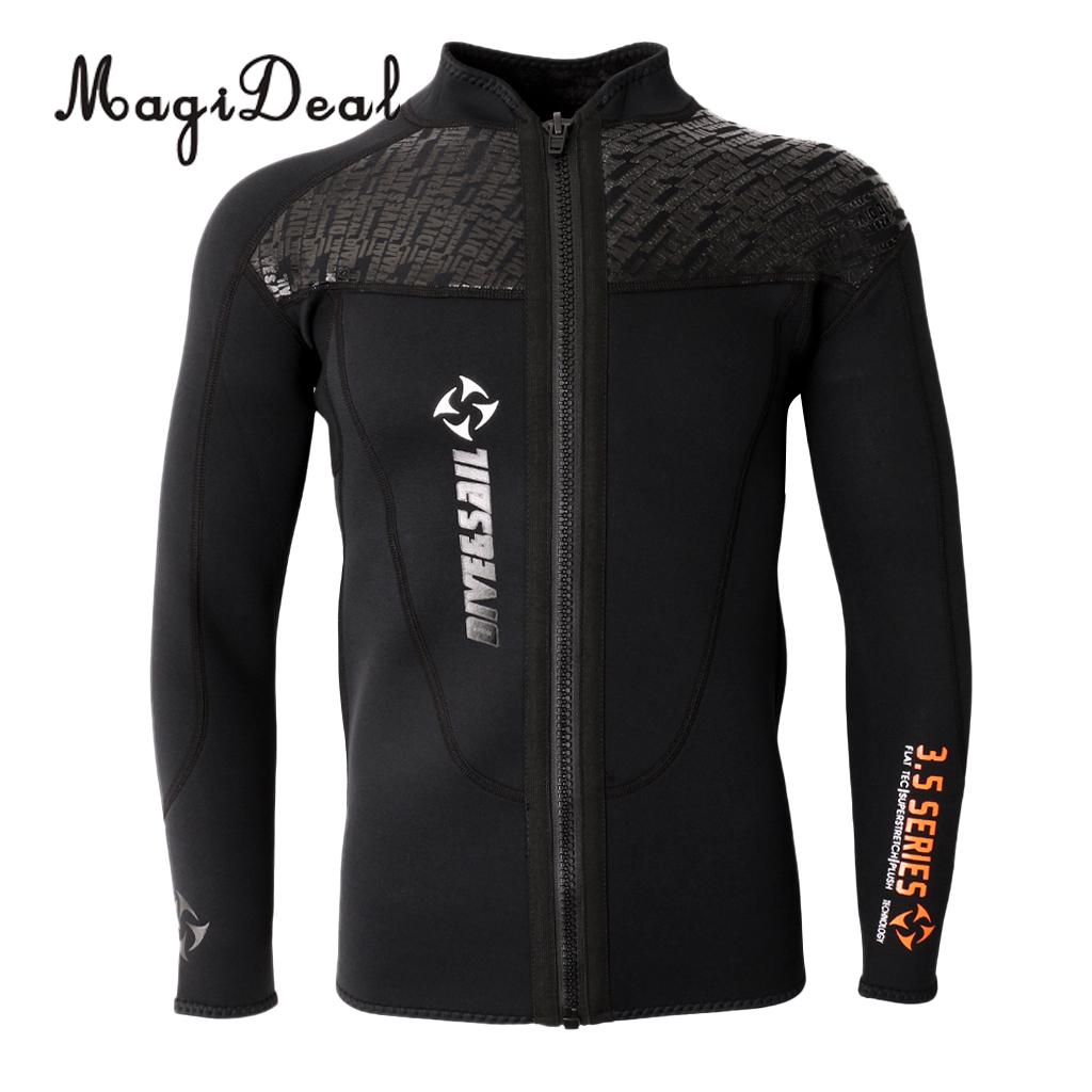 Phenovo 3MM Warm Neoprene Long Sleeve Wetsuit for Men Front Zipper Jacket Top Surf Scuba Diving Swimming Snorkeling neoprene 2mm men black long sleeve wetsuit jacket tops surf diving swim suit full zipper scuba snokling men bathing beach shirts