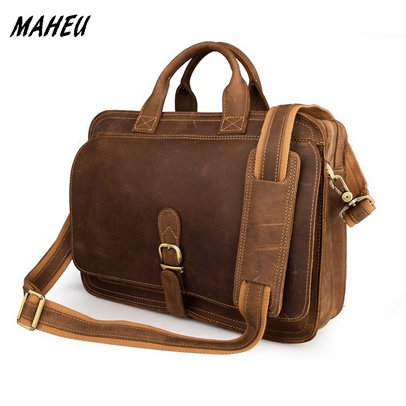 Men's vintage genuine leather laptop bag 15″ Real Leather business Bags Real leather Flap messenger bag double layer PC tote