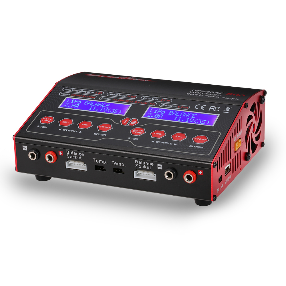 Lipo Chargeur RC Puissance UP240AC DUO 240 W 2in1 LiPo NIMH NiCd Batterie RC Hélicoptère Drone Solde Chargeurs Déchargeurs 18 V DCInput