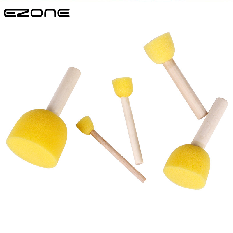 EZONE 5PCS Paint Brush Different Size Wooden Handel Sponge Brushes For Children Watercolor Painting DIY Graffiti School Supply