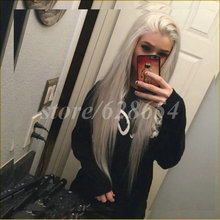 Soft Long Silver Platinum Blonde Lace Front Lace Wigs Synthetic Ash Blonde Straight Heat Resistant Fiber Wigs Middle Parting Wig