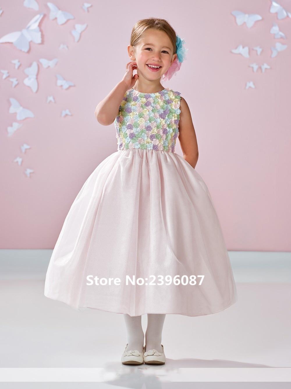 New Handmade   Flowers   Sleeveless Ball Gown   Flower     Girl     Dresses   Cheap Tea-Length Communion   Dresses     Dress   vestidos de comunion 2019