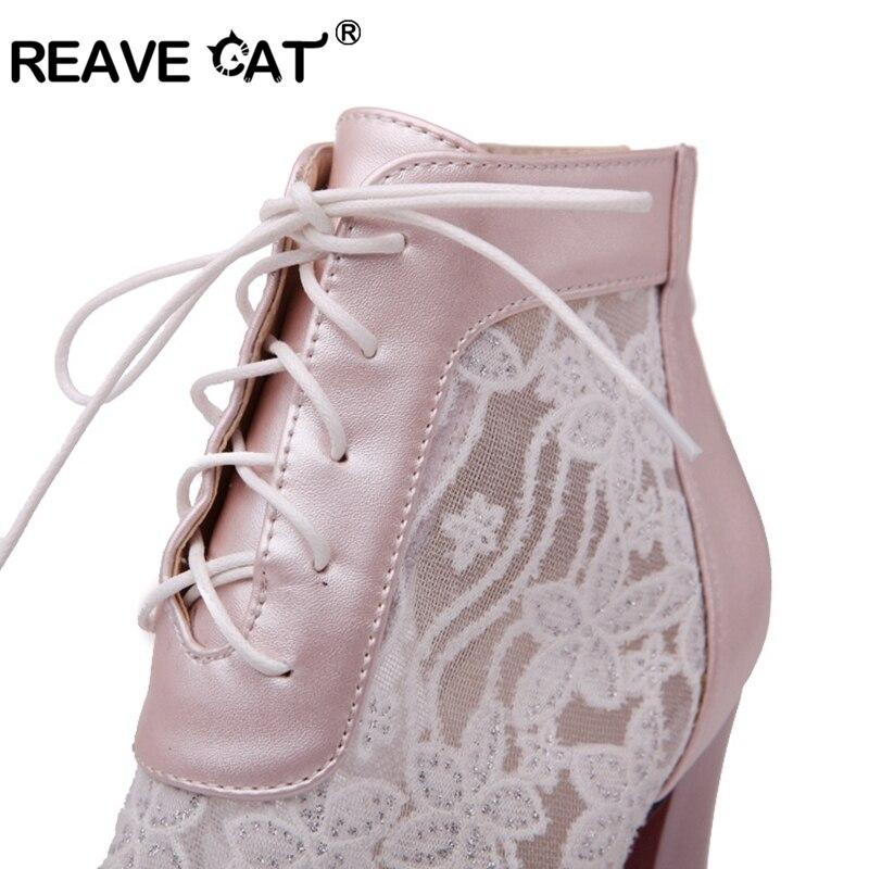 Femme Carré En D'été pink Reave A941 Black Bottes Dentelle Chat Hauts Femmes Zapatos Cuir Pu Chaussures Talons blue À Cheville RqqwP7X