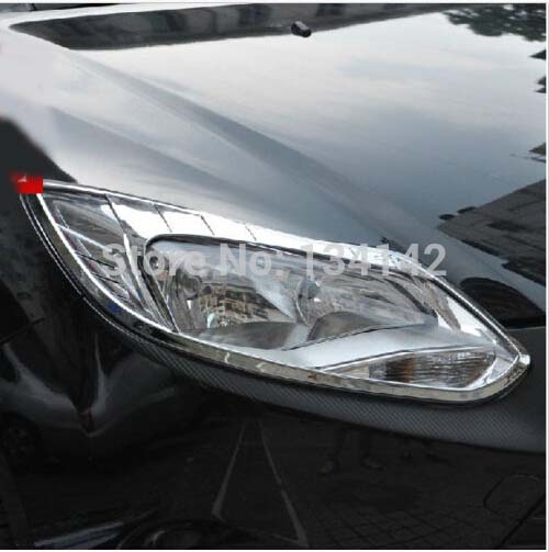 free shipping CHROME FRONT HEADLIGHTS HEADLAMPS FRAME MASK COVER molding moulding TRIM for FORD FOCUS MK3 mk 3 2012 2013 2013 headlamps for chery qq front headlamps assembly before the lamp lights with bulb